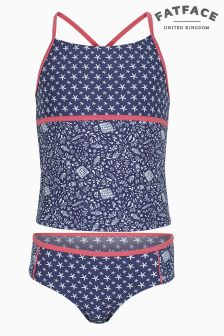 FatFace Light Navy Floral Fish Tankini