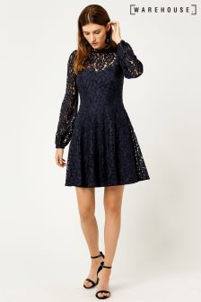Warehouse Navy Lace Skater Dress