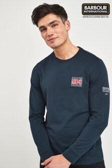 Barbour® International Navy Team Long Sleeve Tee