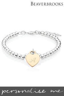 Personalised Silver and Rose Gold Plated Silver Heart Bracelet by Beaverbrooks