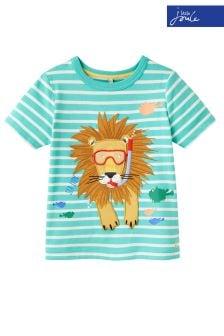Joules Green Stripe Archie Applique Jersey T-Shirt