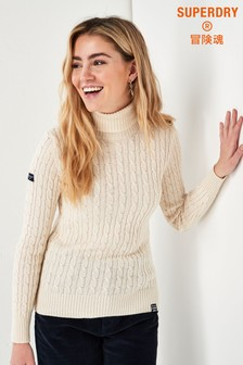 Superdry Cream Cable Roll Neck Jumper