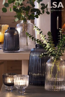 LSA International Grey Pleat Lantern
