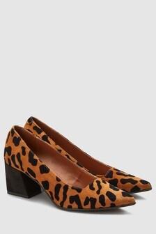 Кожаные туфли-лодочки на квадратном каблуке