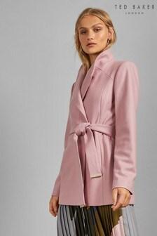 Ted Baker Pink Short Wrap Coat