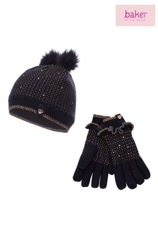 baker by Ted Baker Blue Bow Hat And Gloves