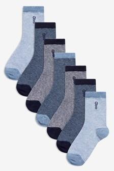 Confezione da 7 paia di calzini in misto cotone a righe (Bambini grandi)