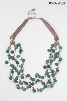 White Stuff Green Metal And Mono Bead Necklace