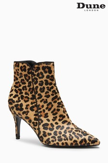 Dune Onestt Leopard Print Point Heel Ankle Boot