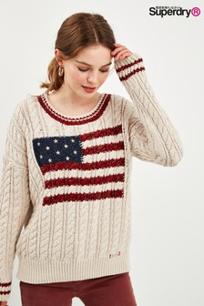 Superdry White America Knit Jumper