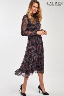 Lauren Ralph Lauren® Black Floral Zada Midi Dress