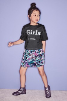 T-Shirt And Velour Skirt Set (3-16yrs)