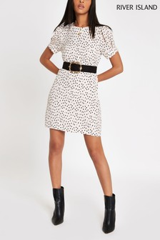 River Iand Beige Animal Spot Print Dress