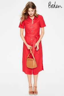 Boden Red Tie Waist Shirt Dress