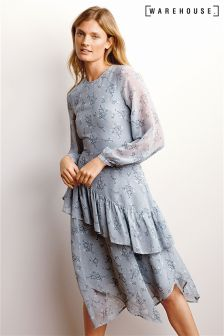 Warehouse Light Blue Anise Floral Ruffle Midi Dress