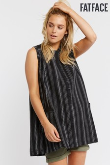 FatFace Black Amelia Stripe Longline Top