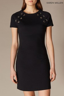 Karen Millen Black Eyelet Detail Jersey Dress