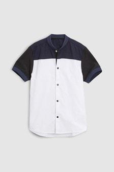 Short Sleeve Colourblock Baseball Collar Shirt (3-16yrs)