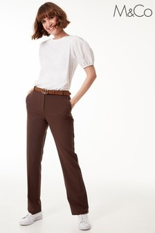M&Co Brown Classic Slim Trousers