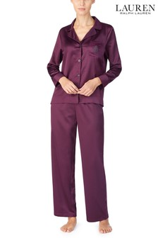 Lauren Ralph Lauren Wine Satin Pyjama Set