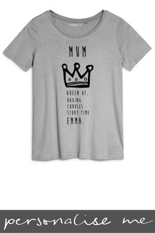 Personalised Mum Crown Printed T-Shirt