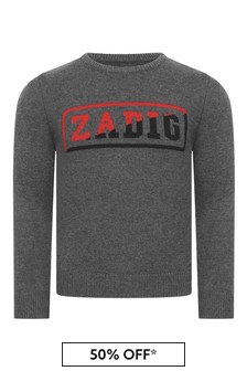 Boys Grey Wool & Cashmere Knitted Sweater