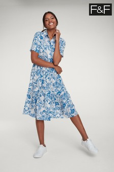 F&F Blue Floral Beach Midi Dress