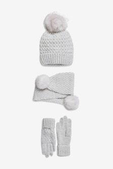 حزمة من 3 قبعة، ووشاح وقفازات (الأطفال الكبار)