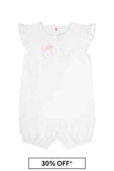 Boss Kidswear BOSS Baby Girls White Cotton Romper
