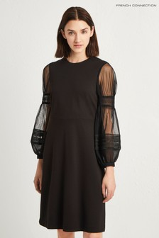 French Connection Black Puff Sleeve Dress
