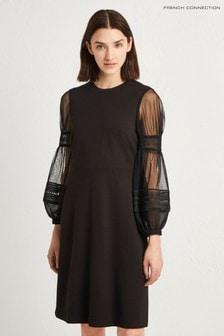 שמלה בצבע שחור עם שרוולים מנופחים של French Connection