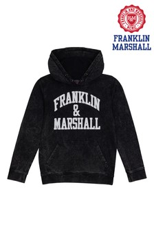 Franklin & Marshall Black Vintage Arch Overhead Hoody