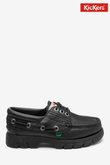 Kickers® Black Lennon Leather Boat Shoe
