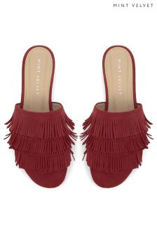 Mint Velvet Red Kate Fringe Slider