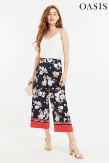 Oasis Multi Print Crop Wide Leg Trouser