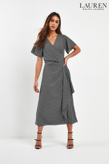 Lauren Ralph Lauren® Black Dogtooth Ezra Midi Wrap Dress
