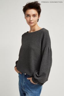 French Connection Dark Grey Ellen Texture Balloon Sleeve Top