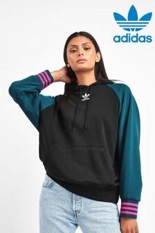adidas Originals Black/Blue Colourblock Oversized Hoody