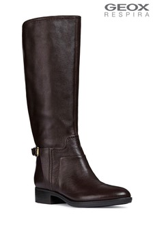 Geox Felicity Coffee Knee High Leather Boot