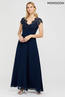Monsoon Ladies Navy Marne Lace Maxi Dress