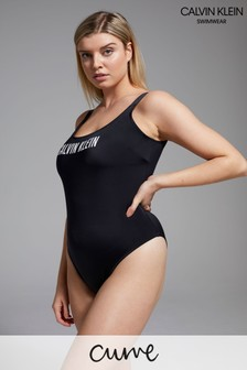 Calvin Klein Black Intense Power Curve Scoop Back One Piece Swimsuit