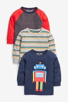 3 Pack Zip Robot Long Sleeve T-Shirts (3mths-7yrs)