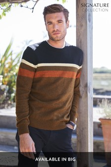 Colourblock Lambswool Blend Crew Jumper