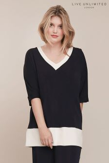 Live Unlimited Blue French Crepe Contrast Top
