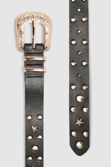 Studded Stars Skinny Belt