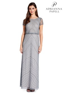 Adrianna Papell Grey Blouson Bead Dress