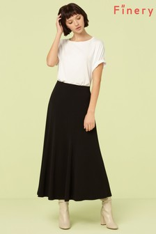 Finery London Black Roxley Crepe Midi Skirt