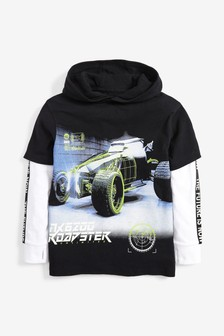Skate Sleeve Graphic Hooded T-Shirt (3-16yrs)