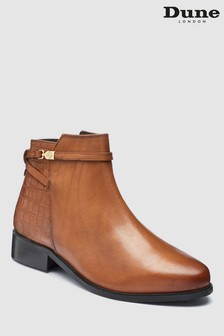 Dune Tan Peppey Leather Strap Ankle Boot