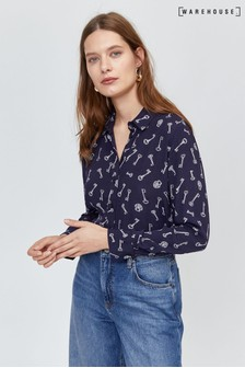 Warehouse Blue Key Print Shirt